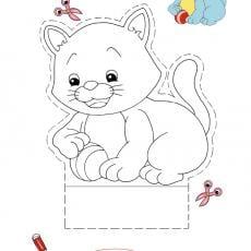 wycinanka-kolorowanka-kotek